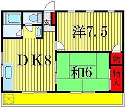 東京都葛飾区青戸1丁目の賃貸アパートの間取り
