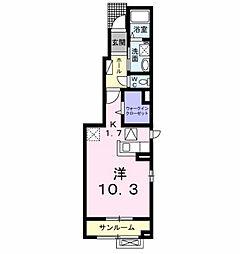 ラ・セーヌ ミヨイ II 1階1Kの間取り