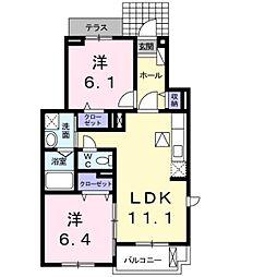 JR東海道・山陽本線 河瀬駅 徒歩17分の賃貸アパート 1階2LDKの間取り