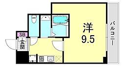 グランツアリタ日本橋 4階1Kの間取り