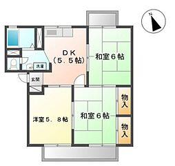 シャンポール下中野B棟[2階]の間取り