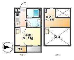 愛知県名古屋市中村区中村町6丁目の賃貸アパートの間取り
