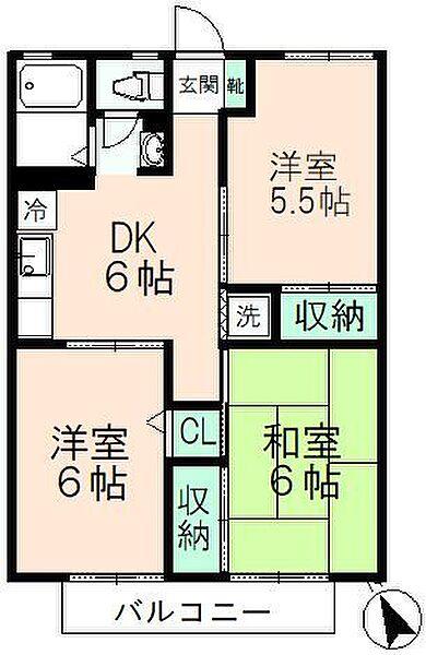 東京都日野市万願寺3丁目の賃貸アパートの間取り