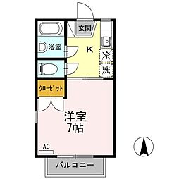 香川県高松市屋島西町の賃貸アパートの間取り