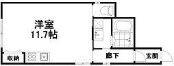 近鉄京都線 東寺駅 徒歩10分の賃貸アパート 1階ワンルームの間取り