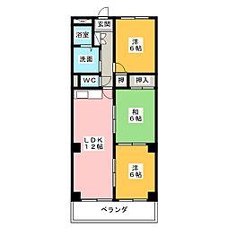 スカイヒルズKawai[2階]の間取り