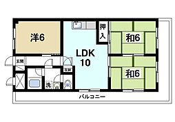 奈良県生駒市小平尾町の賃貸マンションの間取り