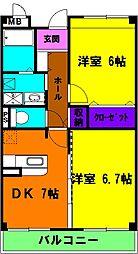 静岡県磐田市東平松の賃貸マンションの間取り