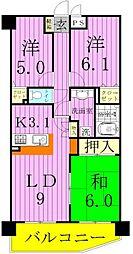 千葉県松戸市新松戸東の賃貸マンションの間取り