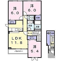 北海道札幌市北区屯田五条10丁目の賃貸アパートの間取り
