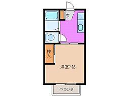 コーポ中野江 A[103号室]の間取り