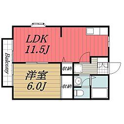 JR総武本線 榎戸駅 徒歩3分の賃貸アパート 2階1LDKの間取り