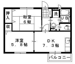 愛知県みよし市黒笹2丁目の賃貸アパートの間取り