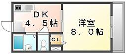 香川県高松市城東町1丁目の賃貸マンションの間取り