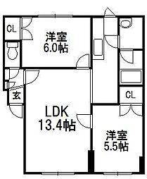 学田山ハウス[205号室]の間取り
