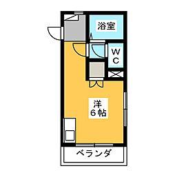 メゾン各務 3階ワンルームの間取り