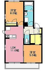 埼玉県上尾市小泉1丁目の賃貸アパートの間取り