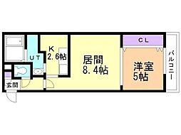 札幌市営東西線 発寒南駅 徒歩8分の賃貸マンション 4階1LDKの間取り