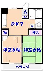 第2コーポ松原[203号室]の間取り