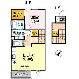 兵庫県三木市緑が丘町中3丁目の賃貸アパートの間取り
