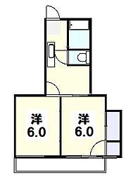 旭ヶ丘コーポ[205号室]の間取り