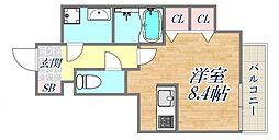 ブランTAT西宮江上町 3階ワンルームの間取り