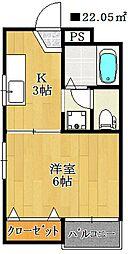 千葉県船橋市栄町1丁目の賃貸アパートの間取り