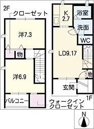 [タウンハウス] 愛知県名古屋市緑区西神の倉2丁目 の賃貸【/】の間取り