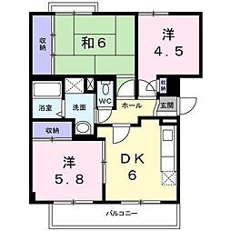 神奈川県厚木市船子の賃貸マンションの間取り
