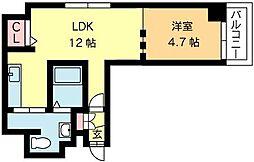 北海道札幌市北区北十一条西4丁目の賃貸マンションの間取り