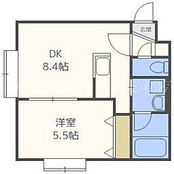 北海道札幌市東区北二十六条東13丁目の賃貸マンションの間取り