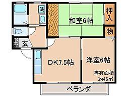 京都府京都市伏見区淀美豆町の賃貸アパートの間取り