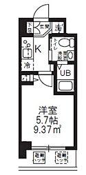 ハーモニーレジデンス新横浜 2階1Kの間取り