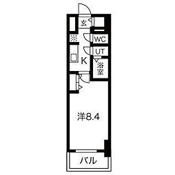 名古屋市営鶴舞線 浅間町駅 徒歩5分の賃貸マンション 4階1Kの間取り