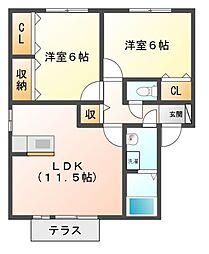愛知県北名古屋市西之保高野の賃貸アパートの間取り