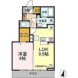 高知県高知市朝倉横町の賃貸アパート 1階1LDKの間取り