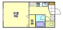 ワールドハイツ佐々木[1-B号室]の間取り