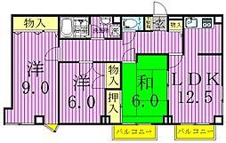 コートグランディア一ツ家[3階]の間取り