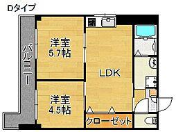 大阪府大阪市西成区岸里東1丁目の賃貸マンションの間取り