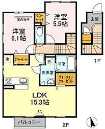 香川県高松市香南町由佐の賃貸アパートの間取り