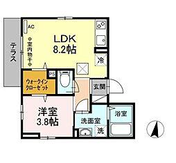 小田急小田原線 相武台前駅 徒歩6分の賃貸アパート 1階1LDKの間取り