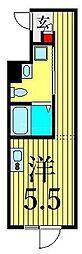 JR山手線 鶯谷駅 徒歩6分の賃貸マンション 4階ワンルームの間取り
