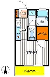 JR中央線 立川駅 徒歩20分の賃貸アパート 1階1Kの間取り