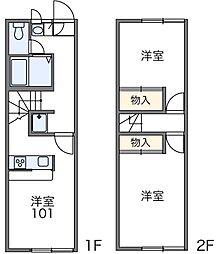 東京都国分寺市並木町1丁目の賃貸アパートの間取り