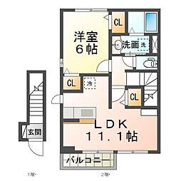JR湖西線 安曇川駅 徒歩7分の賃貸アパート 2階1LDKの間取り