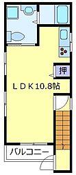 濱砂邸 2階ワンルームの間取り