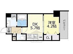 JR東海道・山陽本線 吹田駅 徒歩3分の賃貸マンション 9階1DKの間取り