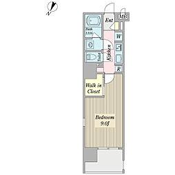 ボナール プランドール 8階1Kの間取り