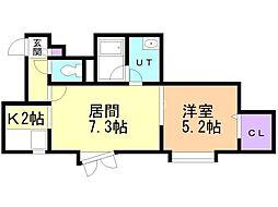 NOON豊平(旧シャインプレイス豊平) 2階1LDKの間取り