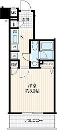 JR山手線 目白駅 徒歩8分の賃貸マンション 4階1Kの間取り